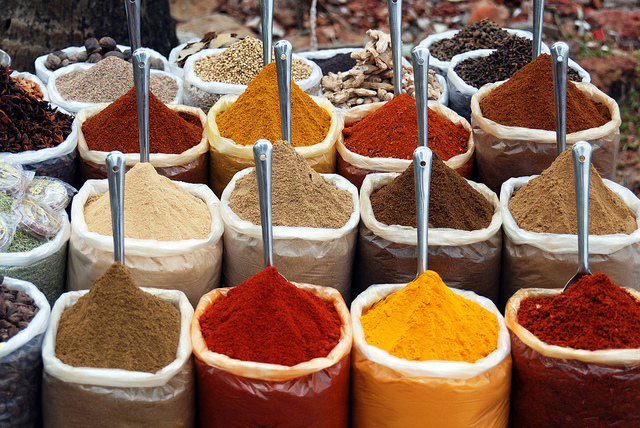 Indian spices for sale at the infamous Anjuna flea-market, Anjuna Beach, Goa, India